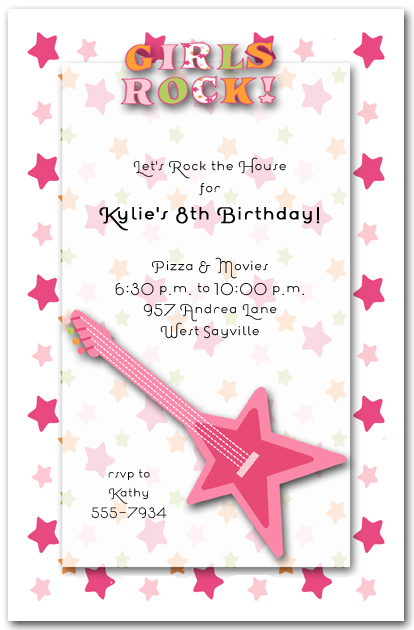 Girls Rock Pink Guitar Popstar Birthday Invitations