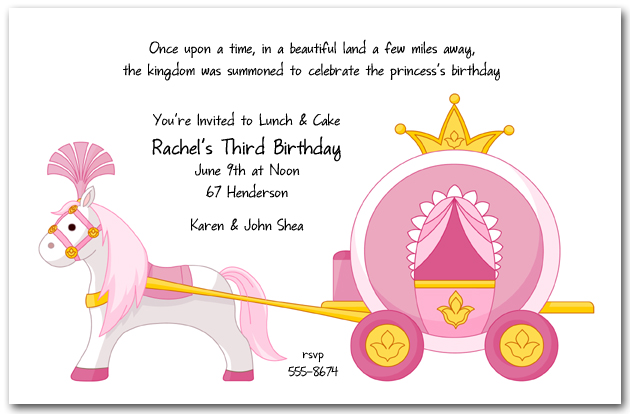 Pink Princess Carriage Birthday Invitation