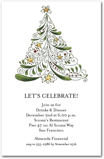 Abstract Christmas Tree Holiday Party Invitations