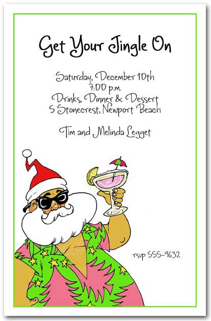 Aloha Santa Tropical Christmas Party Invitations