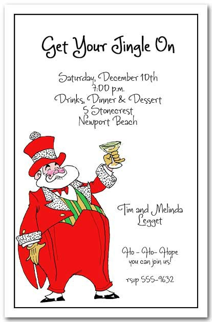 Dapper Mr Santa Klaus Christmas Party Invitations