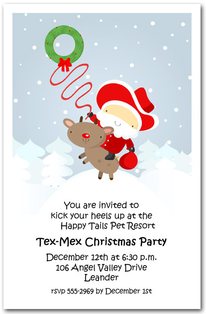 Western Santa Amp Reindeer Holiday Invitations Christmas