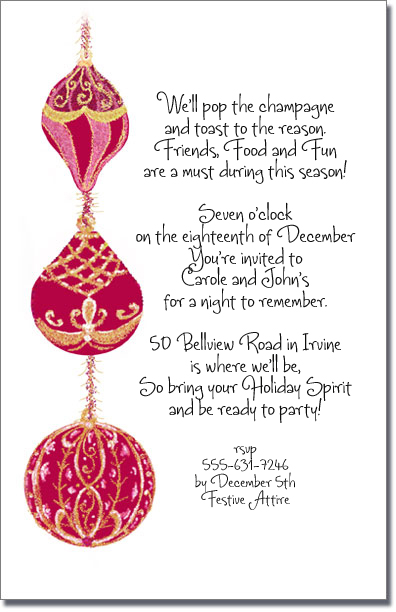 Red Amp Gold Christmas Tree Ornament Invitation Holiday