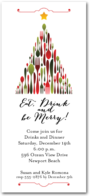 Holiday Utensil Tree Party Invitations