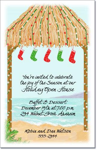 Holiday Palapa Hut Invitations Tropical Christmas