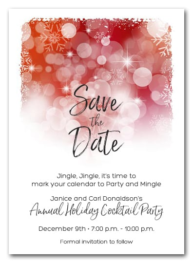 White Snowflakes On Red Holiday Christmas Party Save The