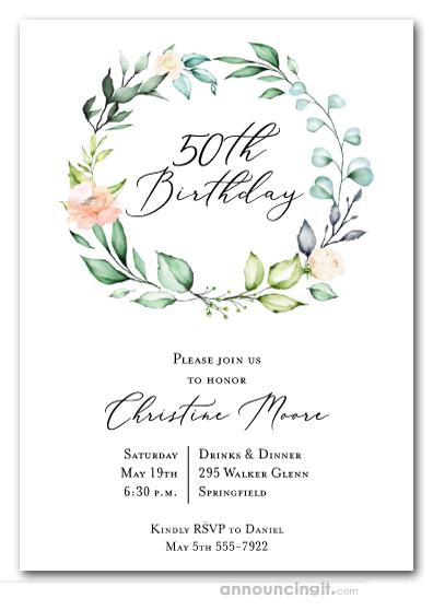 elegant soft floral wreath birthday invitations