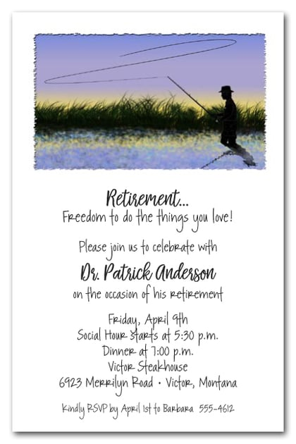 Fly Fishing Theme Retirement Party Invitations
