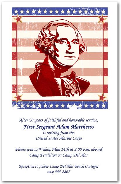 George Washington Silhouette Invitations 4th Of July