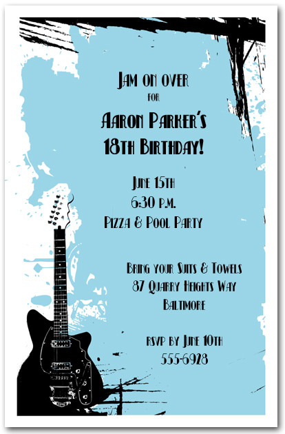 Guitar On Blue Grunge Invitations Rock And Roll Invitations