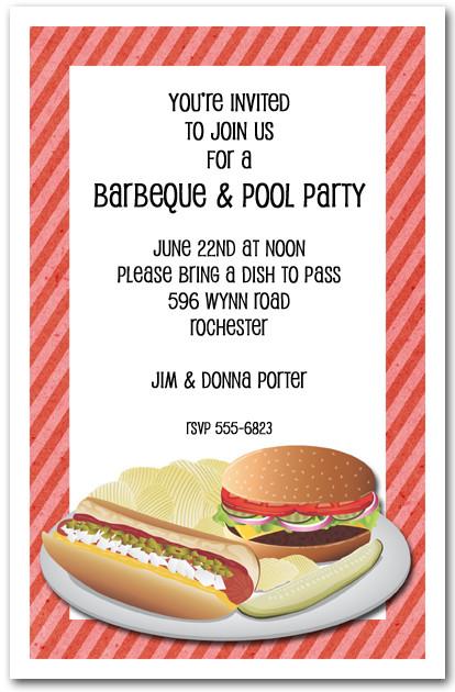 Hamburger Hot Dog And Chips Invitations Barbeque