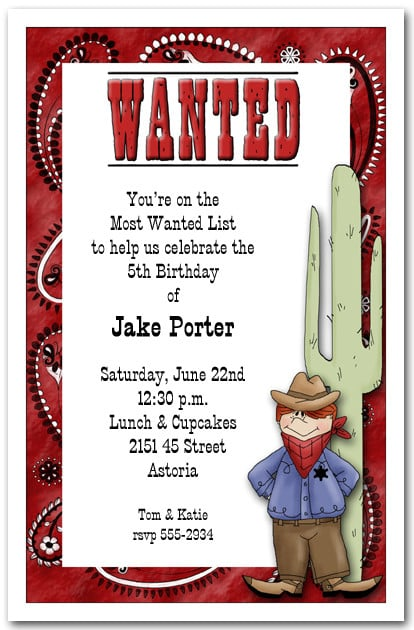 Western Most Wanted Cowboy Party Invitation Western