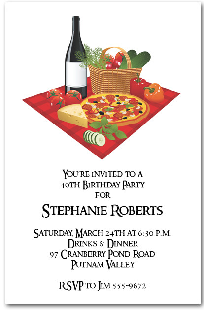 pizza and wine party invitations