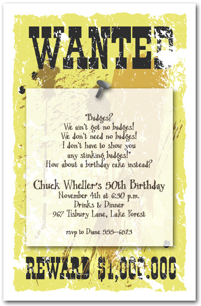 Sheriffs Wanted Poster Invitations Western Invitations