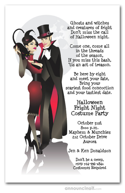 Sinister Couple Vampire Halloween Party Invitations