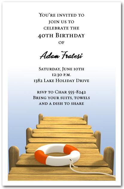 Wood Boat Dock Party Invitations Swimming Invitations