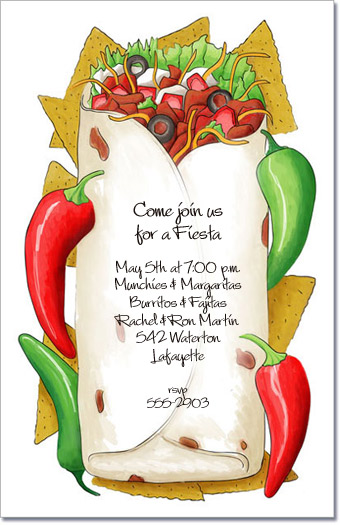 Stuffed Burrito Mexican Fiesta Invitations Cinco De Mayo
