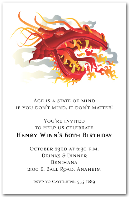 Asian Fire Dragon Invitations