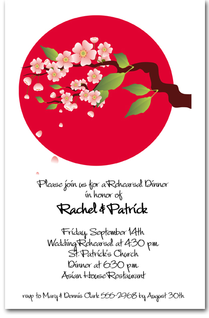Asian Invitations Cherry Blossoms On Red Circle Invitations