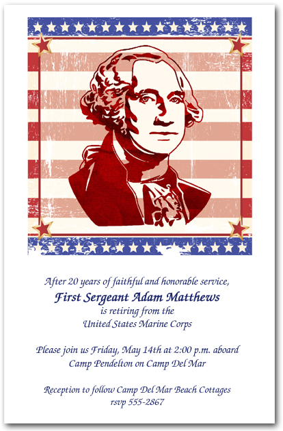 George Washington Silhouette Invitations 4th Of July