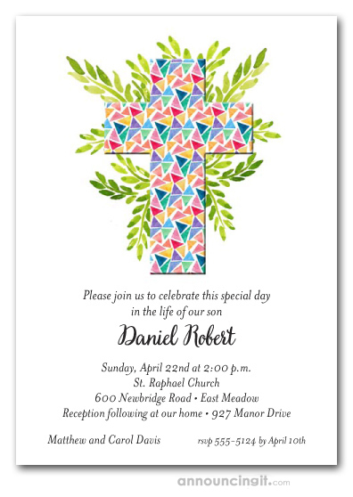 Cross Of Glass Triangles First Holy Communion Invitations