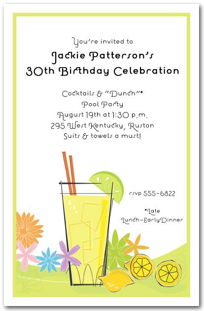 Lemonade Summer Party Invitations