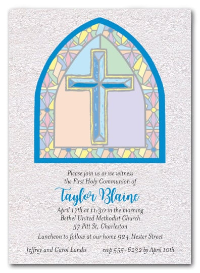 Shimmery Blue Stained Glass Window Religious Invitations