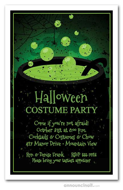 Toxic Green Brew Halloween Party Invitations