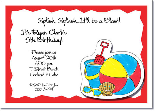 Kids Beach Party Invitations Beach Invitations Pool