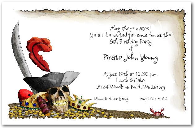 pirate s gold invitations