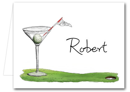 19th Hole Martini Folded Note Cards Custom Thank You Notes