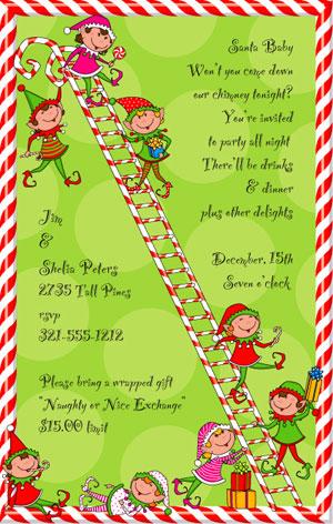 Santas Elves Party Invitations Holiday Party Invitations