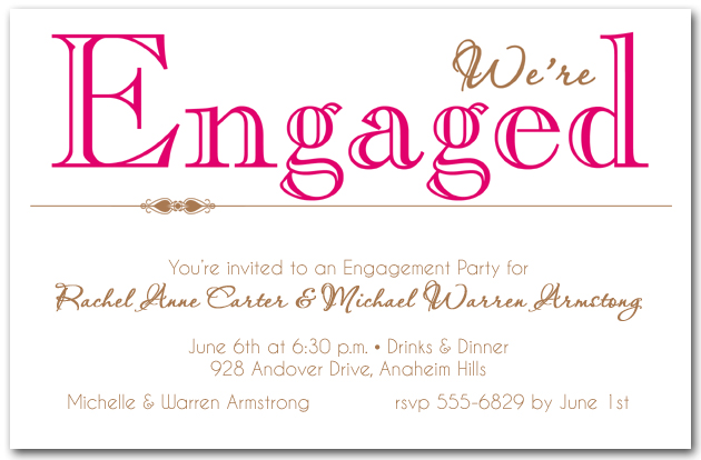 Hot Pink Were Engaged Party Invitations