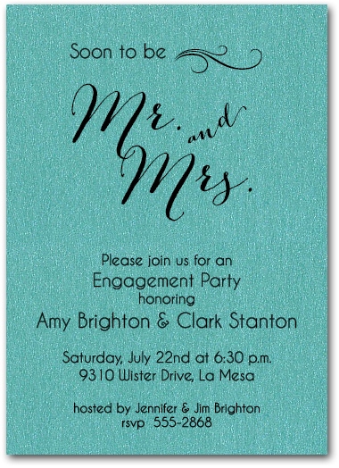 Shimmery Teal Mr Mrs Invitations Enement Party Bridal Shower
