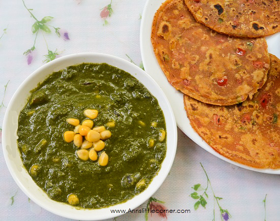 Sweet Corn Palak Subzi / Spinach Sweet Corn Gravy