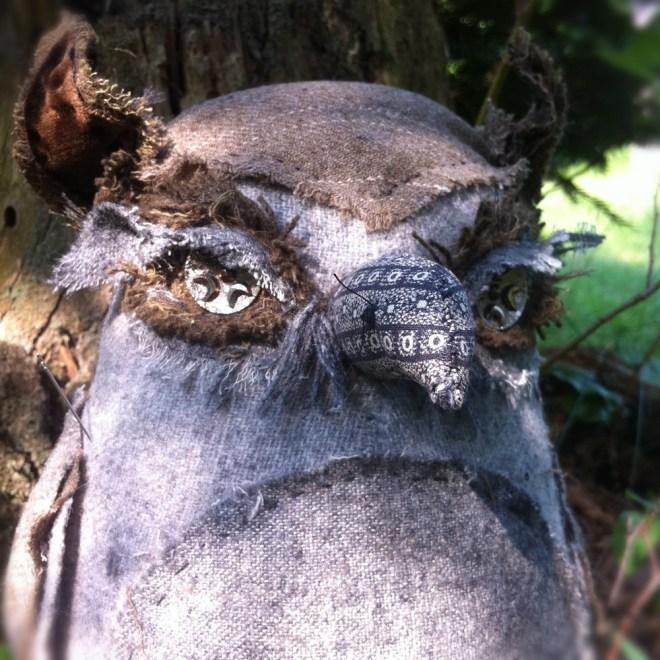 handmade gray wool owl