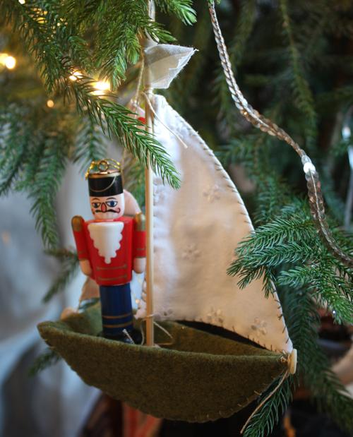 ann wood handmade boat ornament