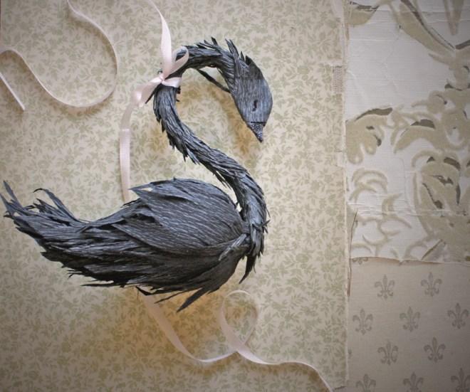 black paper swan