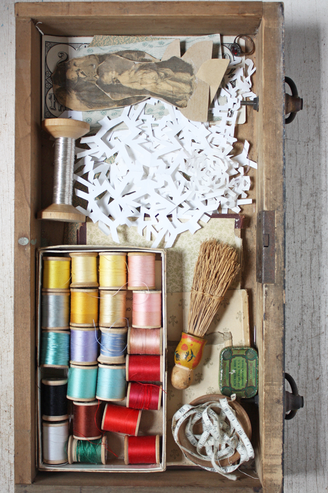 drawer with found obhects and vintage sewing notions