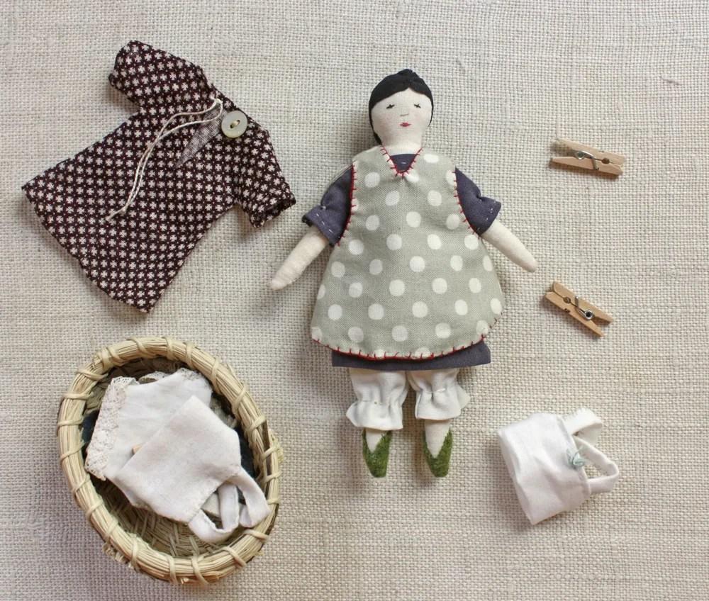 Tiny Rag Doll And Wardrobe Pattern Ann Wood Handmade