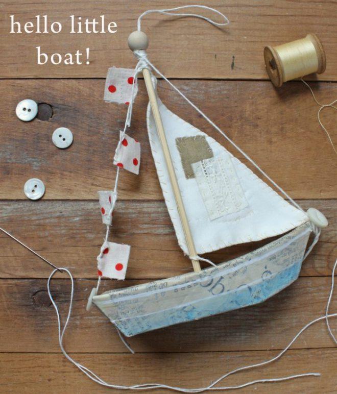 paper mache boat ornament