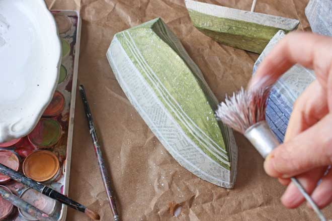 paper mache boats : painting
