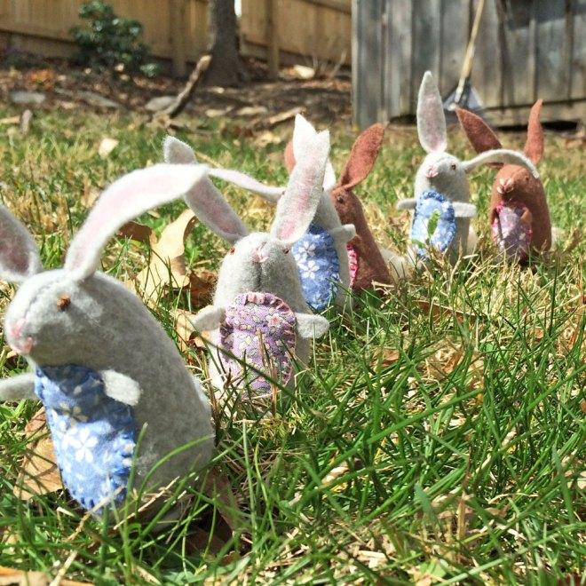 handmade felt bunnies