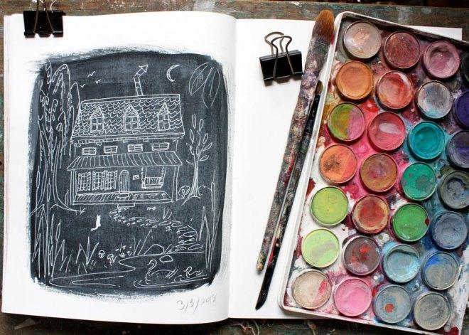 sketchbook : white on black