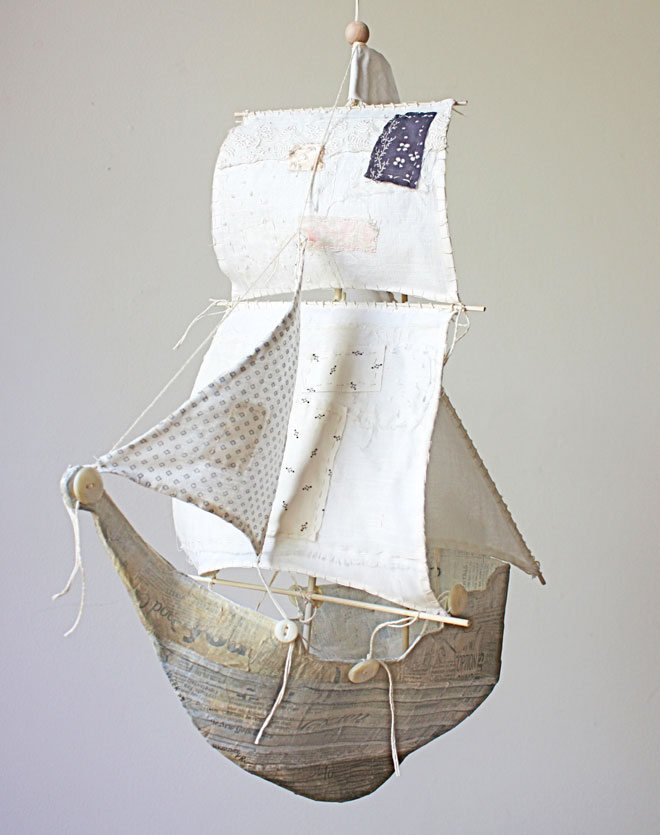 the gulnare - a ship made from paper mache