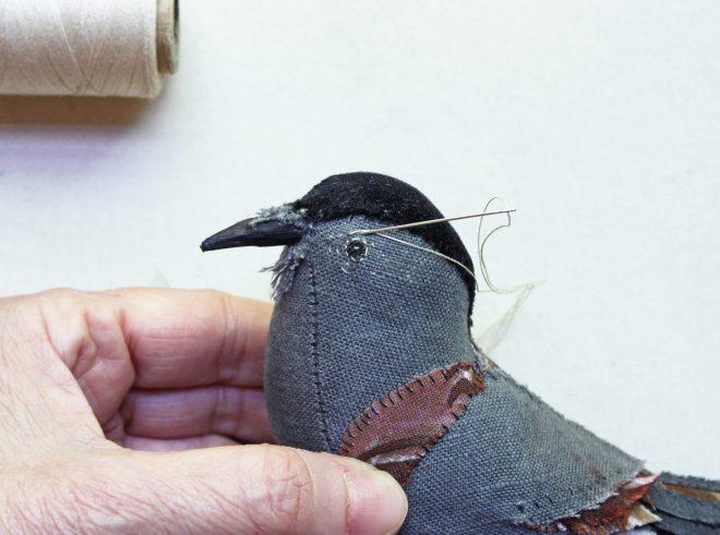 hand stitched songbird progress