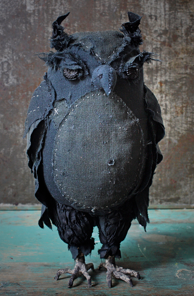 owl made from black antique garments