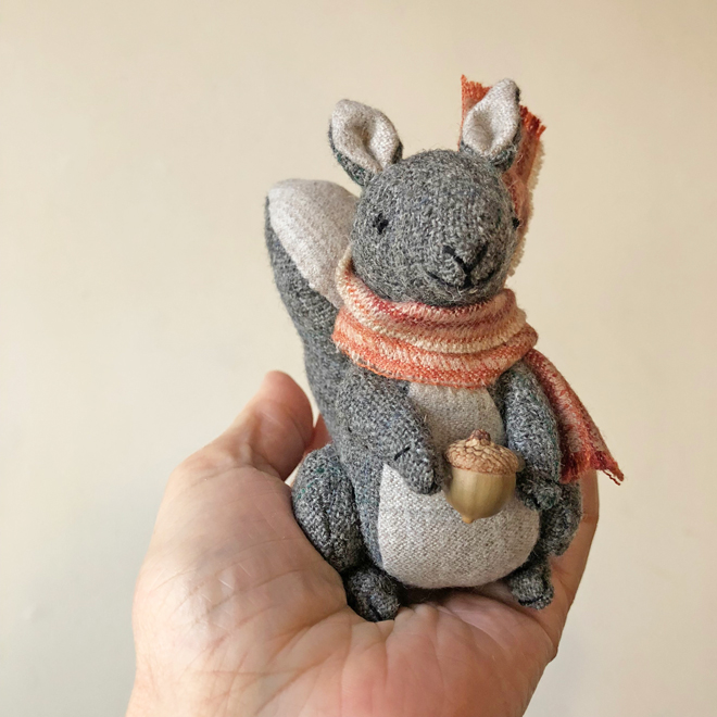 little stuffed wool squirrel