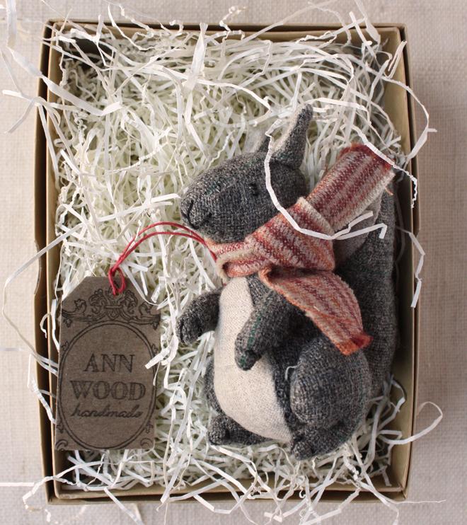 hand stitched wool squirrel