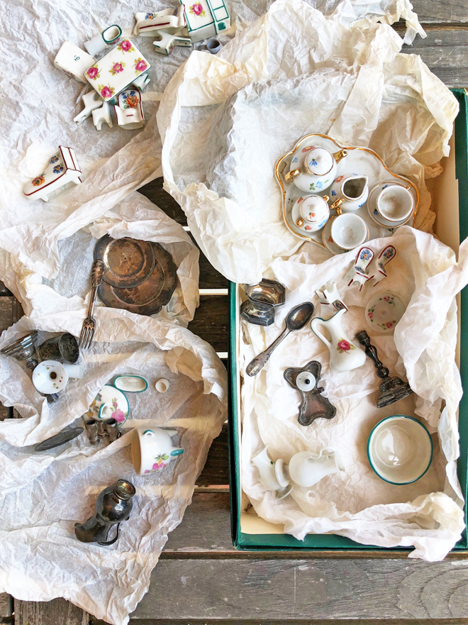 box of antique miniatures found in france